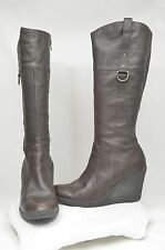 Nine West Brown Leather Fashion Comfort Dress Knee Wedge Casual Boots Size 6.5