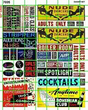7005 DAVE'S DECALS HO SCALE DECALS STRIP CLUB ADULT BOOK STORE SIGNAGE AND ADS