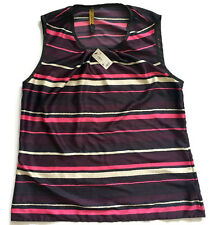 The Limited Outback Red Purple/Pink/White Striped Silky Sleeveless Top-Sz M  NWT