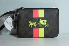 NWT COACH F527042 Brown Signature PVC Horse Carriage & Stripe Small Wristlet