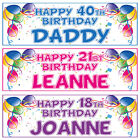 2 PERSONALISED BALLOON BIRTHDAY BANNERS - 1st 18th 21st 30th 40th