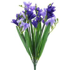 Artificial Purple Freesia Bush with 12 Flowering Stems and Buds - 52 cm Flower