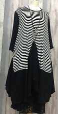 "QUIKRY BLACK & WHITE STRIPE JERSEY LAYERING TUNIC-4X5X 24-26-28 PLUS SIZE TO60""B"