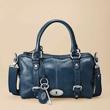 NWOT Fossil Maddox Satchel Large Blue Leather CrossBody Shoulder Purse Handbag