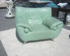 MID CENTURY MODERN LOUNGE CHAIR LEATHER ITALY ALUMINUM FOOT