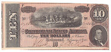 1864 Confederate States Of America Ten Dollars Currency, Choice Au. Nice Color