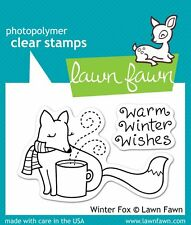 LAWN FAWN CLEAR STAMP SET - WINTER FOX LF363 WARM WINTER WISHES