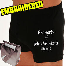 "PERSONALISED Wedding Groom Boxer shorts ""UNDER NEW MANAGEMENT""  ""PROPERTY OF..?"""
