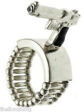 Hip Hop Urban Fashion Silver Gun / Pistol & Crystal Bling Stretch Ring