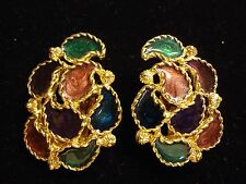 Haute Couture Shimmery Colorful Enamel Elegant Large Fashion Clip Earrings