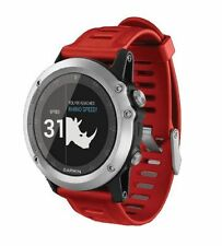 New Garmin Fenix 3 Multisport Outdoor GPS Training Watch Silver with Red Ba