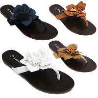 Ladies Womens Toe Post Sandals Flat Beach Summer Shoes Size 3 4 5 6 7 8 (PDTY)