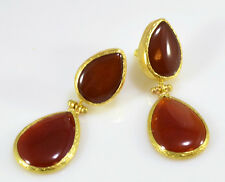 OttomanGems semi precious gemstone earrings gold Agate teardrop ethnic handmade