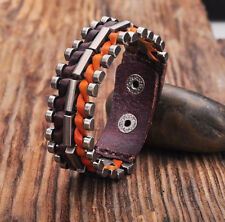 G173 Yellow-Brown Rock Cool Leather Wraps Metal Parts Men's Bracelet Cuff  NEW