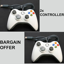 2x WHITE BRAND NEW USB WIRED CONTROLLER FOR MICROSOFT XBOX 360 PC WINDOWS LAPTOP