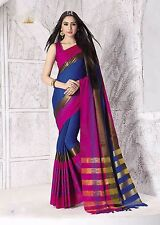South Weddin Multicolor Cotton Silk Printed Indian Saree with Blouse (Kate-S)