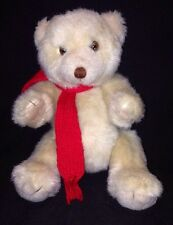 "Blair Stuffed Teddy Bear with Red Scarf Jointed Arms Legs 9"" tall"