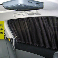 2 X Black Car Sun Shade Curtain UV Proof Side Window Mesh Style Curtain Visor