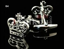 CLASSIC SILVER TONE PRINCE CHARMING CROWN CUFFLINKS ROYAL WEDDING CHRISTMAS GIFT