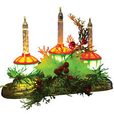 NEW Vintage-Look Bubble Light Candle Glowing Christmas Holly Berry Centerpiece