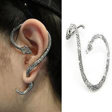 Vintage Snake Wind Temptation Silver Ear Stud Gothic Punk Cuff Wrap Earrings JP