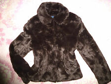 BODEN Chocolate Brown FAUX FUR Collared COAT JACKET Size US 6 (UK10) Pockets *
