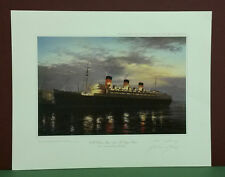 RMS Queen Mary (1936)The Voyage Ahead by John Young,Limited Edition,Signed,Print