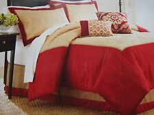 BETTER HOMES AND GARDENS ROMANTIC PAISLEY FULL 4-PIECE COMFORTER SET~GOLD & RED