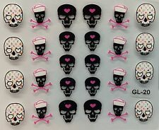 Nail Art 3D Decal Stickers Halloween Skull & Pink Bones Heart GL20