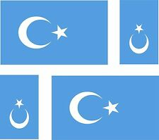 Set of 4x sticker vinyl car bumper decal car moto flag Uyghur Turkestan Xinjiang