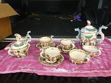 UNUSUAL SEA SERPENT / SEAHORSE CAPODIMONTE TEA SET WITH OLD MARK AS IS