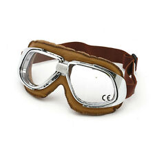 Bandit Classic Goggle,clear Lens,Motorcycle glasses,Leather,brown,for jet helmet