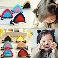 1 Pair Cat Ear Hairpins Hair Clip Pin Cosplay Ears Kitten Fancy Dress Costume