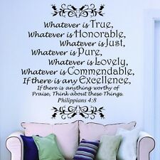 WHATEVER IS TRUE Philippians 4:8 Bible Verse Wall Art Decal Quote Words Decor