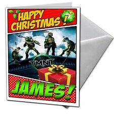 NINJA TURTLES-personalizzata cartolina di Natale-figlio, figlia nipote, Niece, Bro