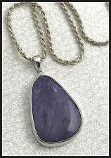 VINTAGE .925 Sterling Silver & Charoite Pendant, 2mm Rope Necklace - 20""