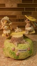Glazed Ceramic Bunny ANIMATED Musical MUSIC BOX My Favorite Things ~New!