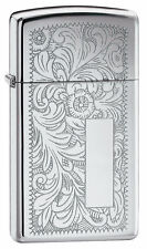 Zippo 1652,Venetian Slim, Design Front & Back, Chrome Lighter, ***Flints/Wick***