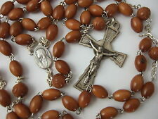 Catholic Rosary STERLING SILVER Crucifix & Center medal Genuine Brown COCO Beads