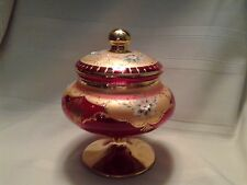Vintage Rare Red Bohemian Czech Footed Candy Dish with Lid