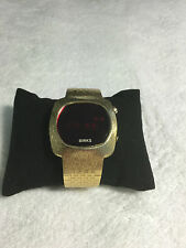 VINTAGE RARE LADIES BIRKS DIGITAL LED WATCH ~10 MICRON GOLD PLATED~NICE