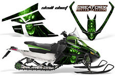 ARCTIC CAT F SERIES SNOWMOBILE GRAPHICS KIT CREATORX DECALS SKULL CHIEF GREEN