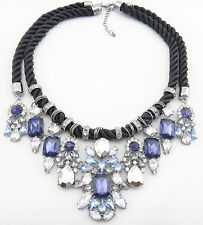 COLLIER PLASTRON CORDON CRISTAL BLEU NECKLACE CRYSTAL STONE BLOGGERS