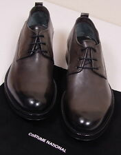 COSTUME NATIONAL SHOES STEEL GRAY VARNISH TOE CHUNKY SOLE DERBY 8 1/2 41.5 NEW