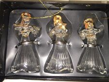 Set of 3 Christmas Holiday Glass Clear Angel Ornaments Gold Trim Delicate