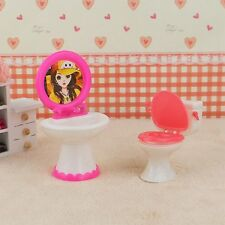 Bathroom Furniture Plastic Toilet Sink Mirror Set For Barbie Doll Dollhouse