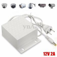 LED DC 12V 2A AC Adapter Power Supply Outdoor Waterproof Switch For CCTV Camera
