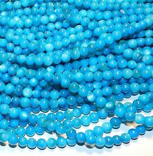 MP1482L Blue Mother of Pearl 6mm Round Gemstone Shell Beads 16""