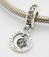 I LOVE YOU TO THE MOON AND BACK CHARM Sterling Silver.925 4 European Bracelets