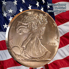 Walking Liberty with American Eagle Back 1 oz .999 Copper Round
